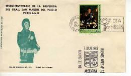 SESQUICENTENARIO DE LA DESPEDIDA DEL GRAL. SAN MARTIN DEL PUEBLO PERUANO  FDC  ARGENTINA  OHL - Militaria