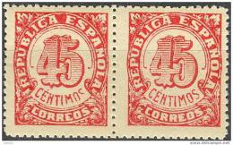 ESNE29-L1551TO.España.Spa In. Espagne  CIFRAS .1938 (Ed NE 29**par) Sin Charnela PAREJA .LUJO - Otros