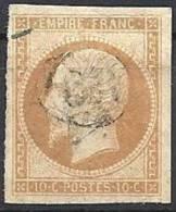 FRANCE - 10 C. Type I Oblitéré OR Dans Un Cercle - 1853-1860 Napoléon III
