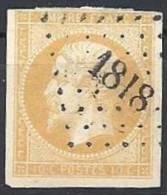 FRANCE - 10 C. Type I Oblitéré Jaune Citron - 1853-1860 Napoléon III