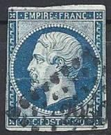 FRANCE - 20 C. Type I Oblitéré Bleu Sur Vert - 1853-1860 Napoléon III