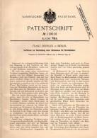 Original Patentschrift - Herstellung Von Zündmasse Für Streichhölzer , 1899 , F. Deissler In Berlin , Streichholz !!! - Zündholzschachteln
