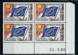 """Coins Datés Service YT 35 """" Drapeau Conseil De L´Europe 70c. """" 1963-71 Neuf - Servizio"""