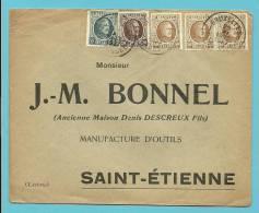 193+196+203 Op Brief Met Stempel BRUXELLES - 1922-1927 Houyoux