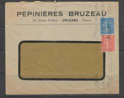 Lettre De 1932 Depuis Orléans Pépinières Bruzeau - 1903-60 Säerin, Untergrund Schraffiert