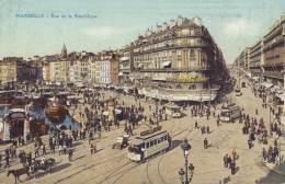 CPA Marseille: La Rue De République. - The Canebière, City Centre