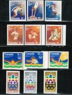 CANADA, 1974-76, # B1-12, OLYMPIC   SYMBOLS &  SPORTS,  21ST OLYMPIC  HELP In MONTREAL - Unused Stamps