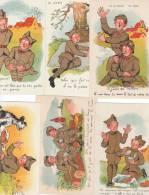 6 Cartes Drole De Guerre Gp Paris Humour Militaire Soldats 1939 1940 - Humoristiques