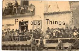 MARSILLARGUES   RARE CARTE PHOTO  CAFE FRANCAIS  COURSE CAMARGUAISE TORO  PUBLICITE ANIS JAUJOU  ET  MANDARIN - France
