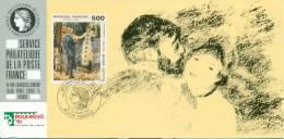 074 Carte Officielle Exposition Internationale Exhibition Milanofil 1991 France FDC Tableau Art Auguste Renoir Kunst - Impressionisme