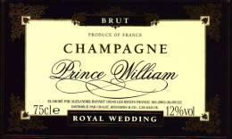 Etiquette  -  Champagne  PRINCE WILLIAM  -  Royale Wedding - Champagne