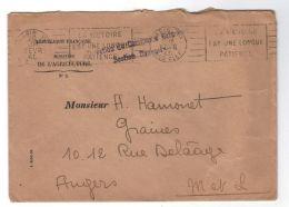 France: Lettre De 1940, Avec Flamme Et Cachet à Texte, R B V, Du Ministère De L'Agriculture, Pour Le Maine Et Loire - Cartas Civiles En Franquicia
