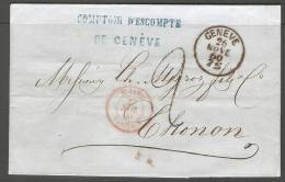 Lettre De Suisse 1860 - ...-1845 Préphilatélie