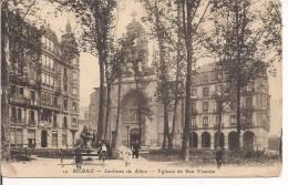 BILBAO. JARDINES DE ALBIA E IGLESIA S. VICENTE.,postal, BLANCO NEGRO, A Partir De 1902a Italia Tamaño Pequeño, Ocupado - Vizcaya (Bilbao)