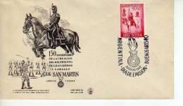 150 ANIVERSARIO DE LA CREACION DEL REGIMIENTO DE GRANADEROS A CABALLO GRAL. SAN MARTIN  FDC  ARGENTINA  OHL - Militaria