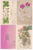 1905/1907 NEW YEAR CELEBRATION 3 POSTCARD LOT HORSESHOE CLOVER ETC Cpa AK (W2-0196) - Año Nuevo