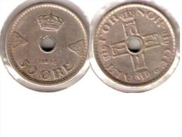 Norway 50 Ore 1948 Km 386  Vf+ - Norvège