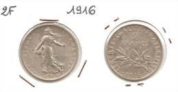 Lot Pièce 2 Francs Semeuse Argent SUP 1916 - I. 2 Francos