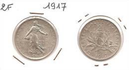 Lot Pièce 2 Francs Semeuse Argent SUP 1917 - I. 2 Franchi