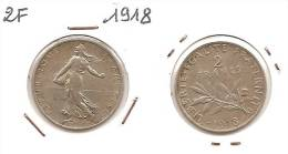 Lot Pièce 2 Francs Semeuse Argent SUP 1918 - I. 2 Franchi