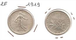 Lot Pièce 2 Francs Semeuse Argent SUP 1919 - I. 2 Franchi