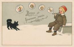 """ENFANTS - Jolie Carte Fantaisie Enfant Fumant La Pipe Et Chien Dans La Neige De """"Bonne Année 1903 """" - New Year"""