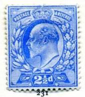 GB EVII 1902 2½d Pale Ultramarine, Hinged Mint - Unused Stamps