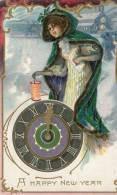 R. TUCK : Art Nouveau Gaufrée . Femme, Lampion, Pendule . - New Year