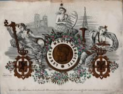 1854 - GRANDECARTE PORCELAINE COULEUR 28 X 21.5 Cm - BRUXELLES MONDAIN * Societe Royale De La Grande Harmonie *  CARBOTE - Cartes Porcelaine