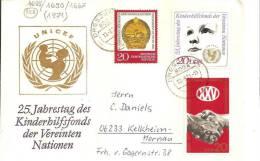 DDR054 / Kinderhilfsfond Der UNO 1971 + 2 Zusatzmarken