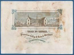 Vers 1850 !! GRANDE CARTE PORCELAINE RENAIX PENSIONNAT ST LOUIS DE GONZAGUE - 26 X 19CM - Cartes Porcelaine