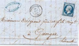 P.c.660 CAVAILLON Sur 14 II,avec Corresp. Du 28 Mai 1861. - Postmark Collection (Covers)