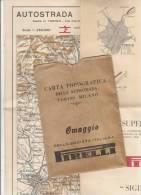 PO4992B#  CARTA TOPOGRAFICA AUTOSTRADA TORINO MILANO Omaggio PIRELLI PUBBLICITARIA 1933 - Topographical Maps