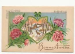 Mignonnette Double A Système. Bonne Année Cerf Dans Une Forêt Enneigée, Oeillets, Trèfle. 1952 - Weihnachten