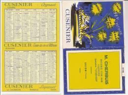 """BRION (Yonne) CALENDRIER M. CHERBUIS épicerie Fine-bar Liqueurs Spécialités """"CUSENIER"""" - Calendriers"""
