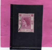 HONG KONG 1954 QUEEN ELIZABETH II REGINA ELISABETTA CENTS 50 C USATO USED OBLITERE' - Usati