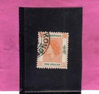 HONG KONG 1954 QUEEN ELIZABETH II REGINA ELISABETTA ONE DOLLAR 1$ USATO USED OBLITERE' - Usati