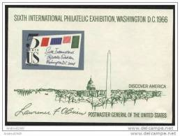 USA - 1966 -  Sixth International Philatelic Exhibition Washington DC - Ongebruikt