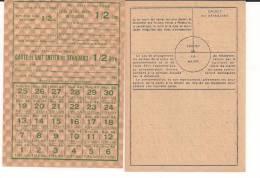 Rationnement Vichy Carte De Lait Entier WWII Ww2 39-45 1939-1945 2wk - 1939-45