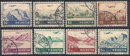 1941 SVIZZERA USATO POSTA AEREA VEDUTE DIVERSE 8 VALORI -  SZ036 - Oblitérés
