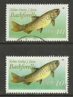 Deutschland DDR 1987 Bachforelle 2 Verschiedene Töne Colour Varieties Michel 3096 O - DDR