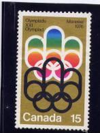 CANADA.1973, USED #  624,    OLYMPICS GAMES 1976 COJO SYMBOL - 1952-.... Règne D'Elizabeth II