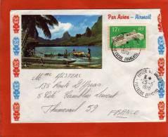 YVERT 70 SEUL SUR LETTRE PAPEETE 25/5/1970  POUR FRANCE THUMESNIL 59 - Polynésie Française