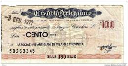 ITALY 100 L Credito Artigiano Lot12 - [ 2] 1946-… : Republiek