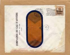 Enveloppe Cover Brief à Fenêtre Compagnie Du Gaz D´ Anvers Antwerpen + Cachet Facteur - Guerre 14-18