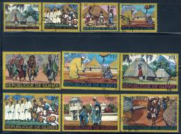 1968 Guinea Set Of 10 Stamps Including The 2 High Values With Scenes Of Life In An African Village, Used - Guinea (1958-...)