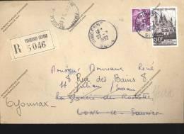 Lettre Recommandée Timbre CAEN  Abbaye Aux Hommes Cachet VINCENNES Centre + ST JULIEN SUR SURAN JURA + OYONNAX - Covers & Documents