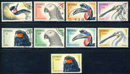 1962 Guinea 9 Different Stamps Birds Used, The 3 High Value Airmails Are MNH,beautiful Set - Guinea (1958-...)