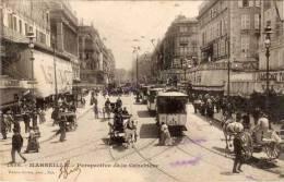 MARSEILLE - Perspective De La Canebière - ( Bus, Attelages, Commerces) (46428) - Marseille