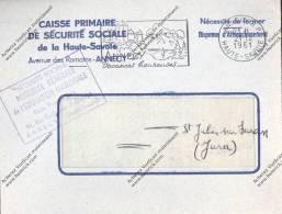 Enveloppe Caisse Primaire De Sécurité Sociale De Haute Savoie Avenue Des Romains ANNECY Dispense D'affranchissement 1961 - Used Stamps